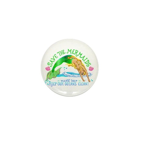Save the Mermaids Mini Button (10 pack)