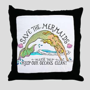 Save the Mermaids Throw Pillow