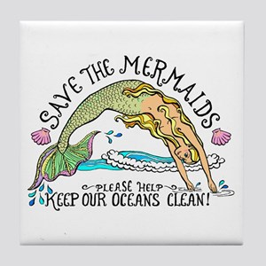 Save the Mermaids Tile Coaster