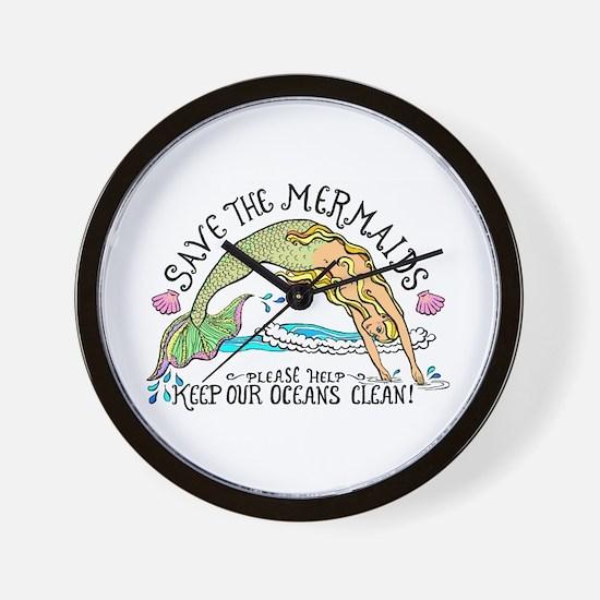 Save the Mermaids Wall Clock