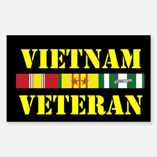 Vietnam Veteran 2 Star Sticker (Rectangle)