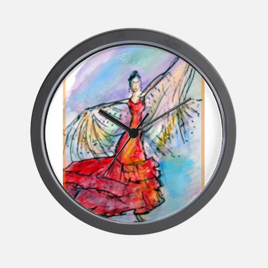 Falmenco dancer, bright Wall Clock