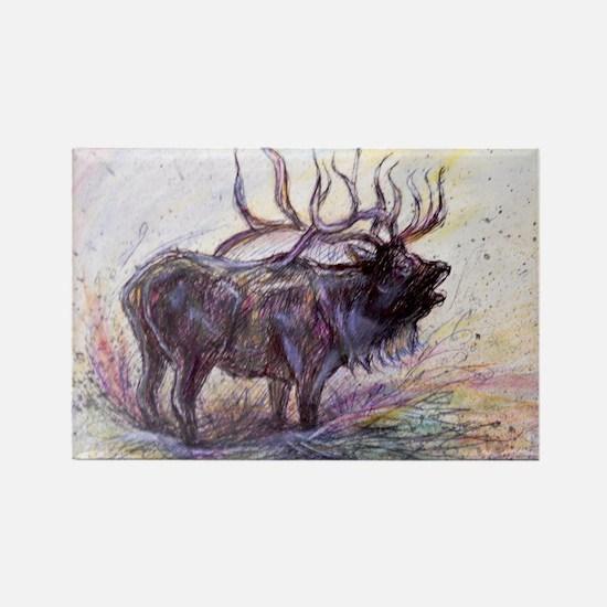 Elk, colorful, Rectangle Magnet
