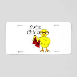 Swim Chick Text Aluminum License Plate
