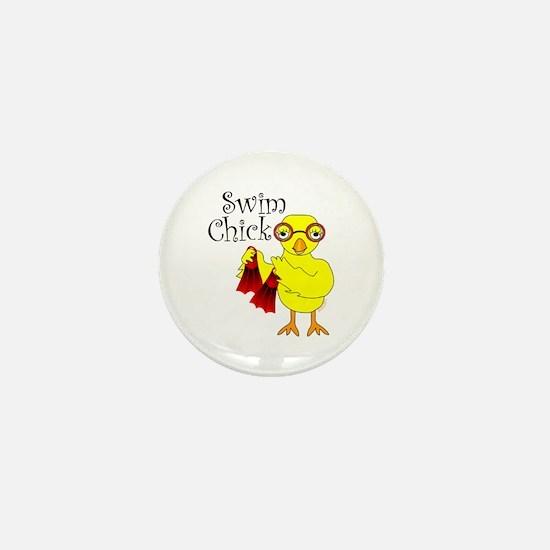 Swim Chick Text Mini Button