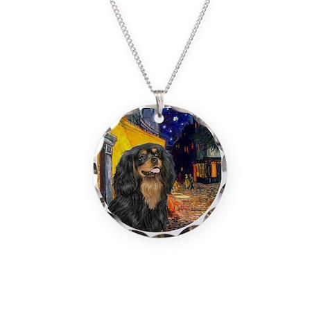 Cafe - Cavalier (Blk-Tan) Necklace Circle Charm