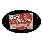 Grill Master Retro Sticker (Oval 10 pk)