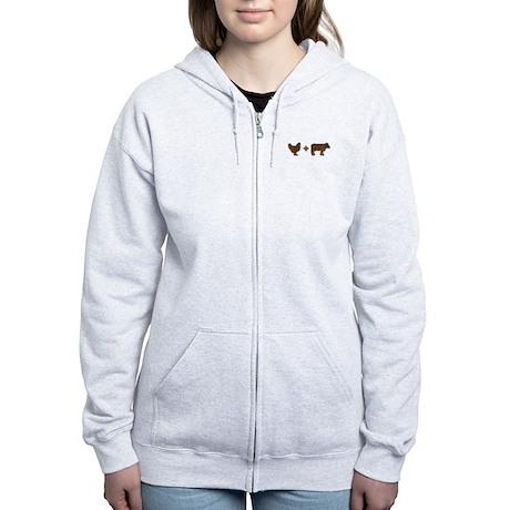 Brown Chicken Brown Cow Women's Zip Hoodie