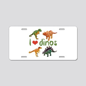I Love Dinos Aluminum License Plate