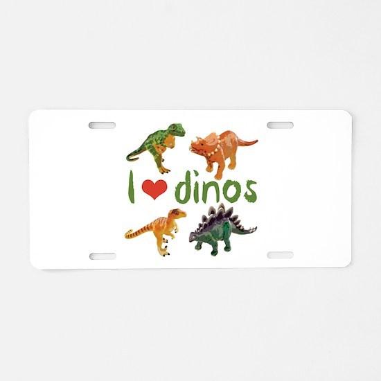 I Love Dinos Aluminum License Plate