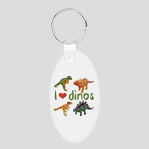 I Love Dinos Aluminum Oval Keychain