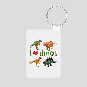 I Love Dinos Aluminum Photo Keychain