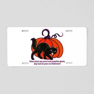 Halloween Cat Aluminum License Plate