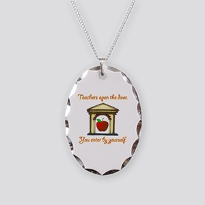 Teachers Open The Door Necklace Oval Charm