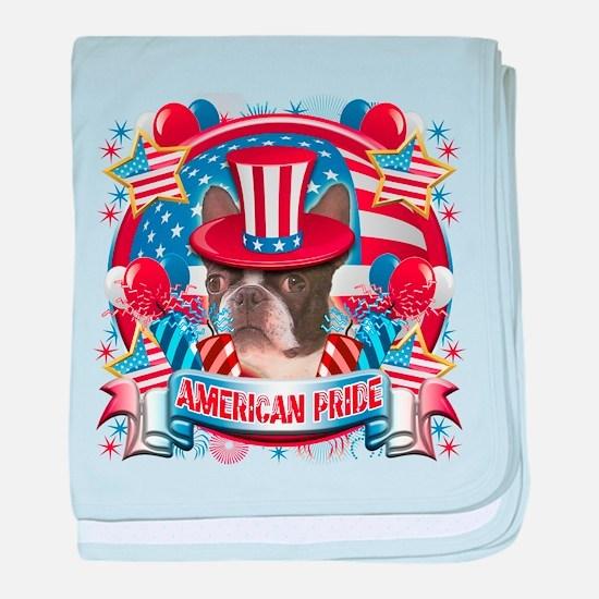 American Pride Boston Terrier baby blanket