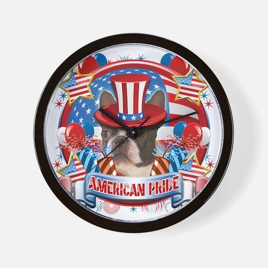 American Pride Boston Terrier Wall Clock