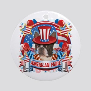 American Pride Boston Terrier Ornament (Round)