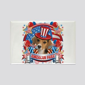 American Pride Beagle Rectangle Magnet