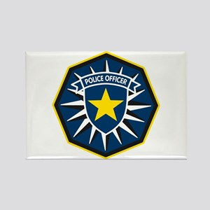 Police Officer Star Badge Rectangle Magnet