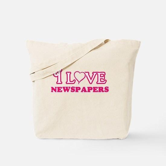 I Love Newspapers Tote Bag