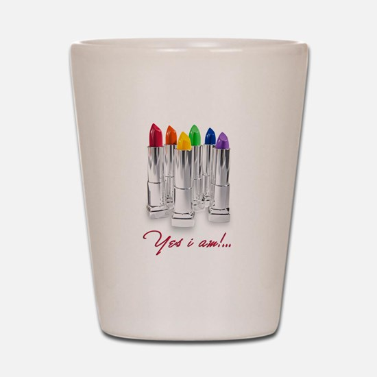 lipstick lesbian Shot Glass