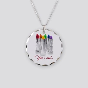 lipstick lesbian Necklace Circle Charm