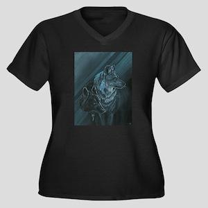 Wolves Women's Plus Size V-Neck Dark T-Shirt