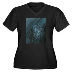 Wolves Women's Plus Size V-Neck Dark T-Shirt