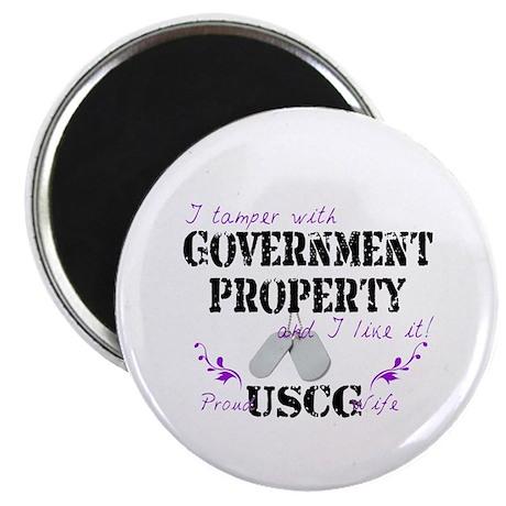 """Tamper w Gov Property USCG Wife 2.25"""" Magnet (100"""