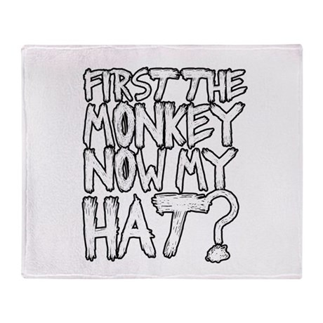 Monkey and Hat Throw Blanket