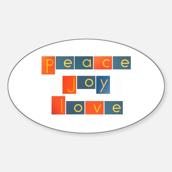 PEACE, JOY, LOVE Sticker (Oval)