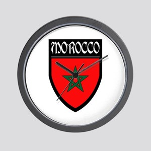 Morocco Flag Patch Wall Clock