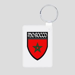 Morocco Flag Patch Aluminum Photo Keychain