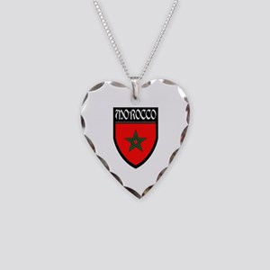 Morocco Flag Patch Necklace Heart Charm
