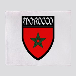 Morocco Flag Patch Throw Blanket