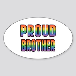 GLBT Rainbow Proud Brother Sticker (Oval)