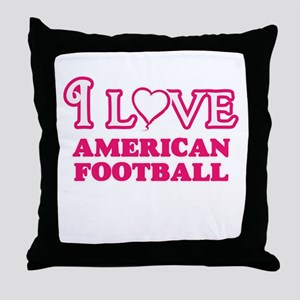 I Love American Football Throw Pillow