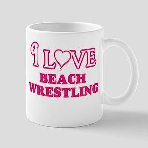 I Love Beach Wrestling Mugs