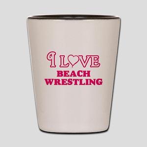 I Love Beach Wrestling Shot Glass