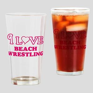 I Love Beach Wrestling Drinking Glass