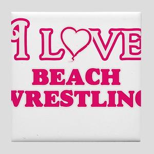 I Love Beach Wrestling Tile Coaster