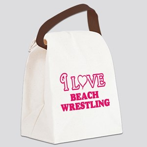 I Love Beach Wrestling Canvas Lunch Bag