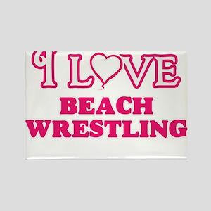I Love Beach Wrestling Magnets
