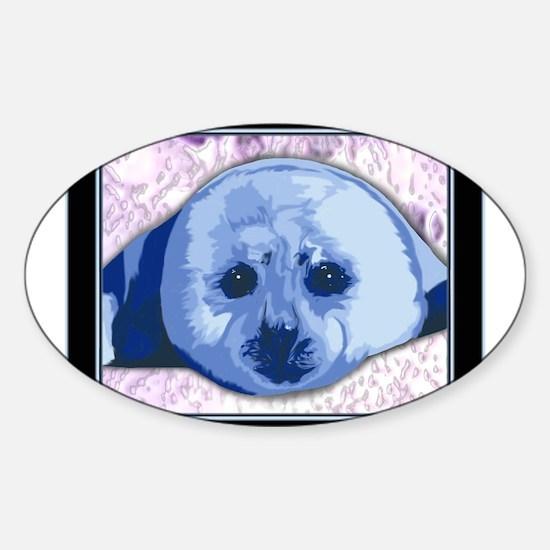 Cute Harp seal Sticker (Oval)