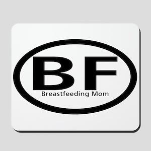Breastfeeding Mom Black Oval Mousepad