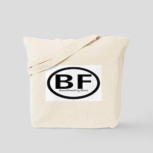 Breastfeeding Mom Black Oval Tote Bag