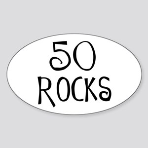 50th birthday saying, 50 rocks! Oval Sticker