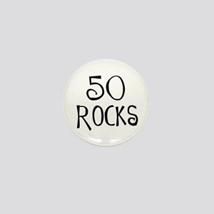 50th birthday saying, 50 rocks! Mini Button