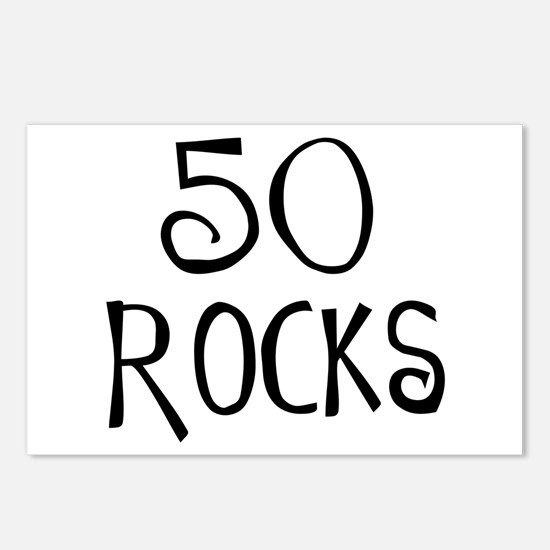 50th birthday saying, 50 rocks! Postcards (Package