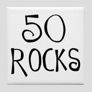 50th birthday saying, 50 rocks! Tile Coaster